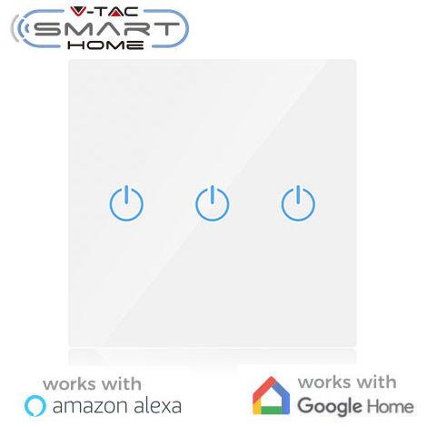 Interruptor táctil 3 salidas V-TAC Smart Home WIFI IP40 Blanco compatible con Amazon Alexa y Google Home