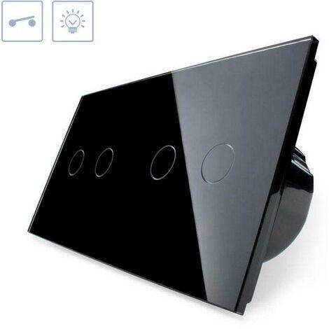 Interruptor táctil, 4 botones, frontal negro