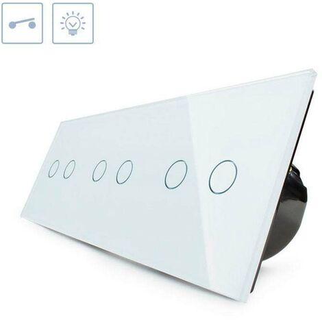 Interruptor táctil 6 botones, frontal blanco