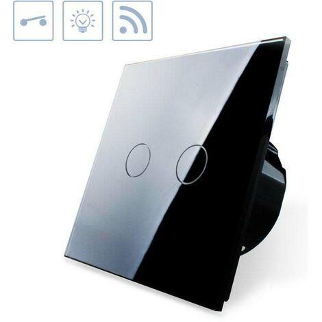 Interruptor táctil doble + remoto, frontal negro