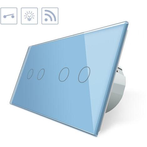 Interruptor táctil + remoto, 4 botones, frontal azul
