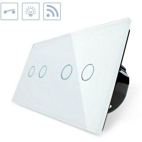 Interruptor táctil + remoto, 4 botones, frontal blanco