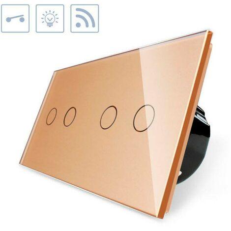 Interruptor táctil + remoto, 4 botones, frontal golden