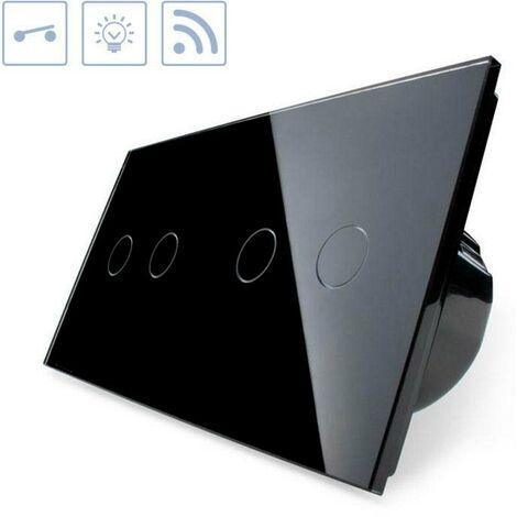 Interruptor táctil + remoto, 4 botones, frontal negro