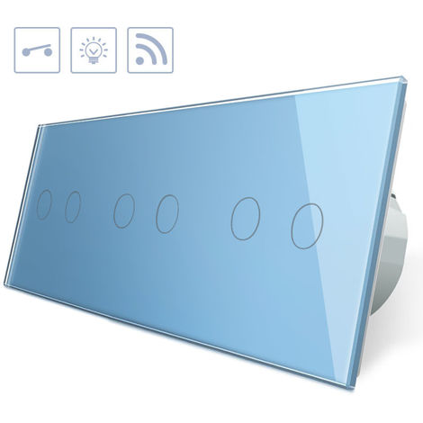 Interruptor táctil + remoto, 6 botones, frontal azul