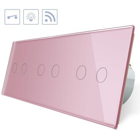 Interruptor táctil + remoto 6 botones frontal rosa