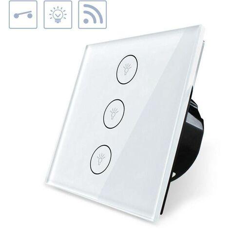 Interruptor táctil triple WiFi-Voz, blanco