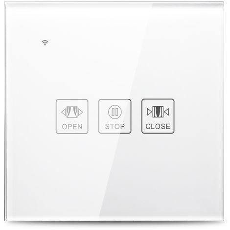 Interruptor t¨¢ctil de cortina inteligente con Wi-Fi, control por voz, blanco, 1 unidad