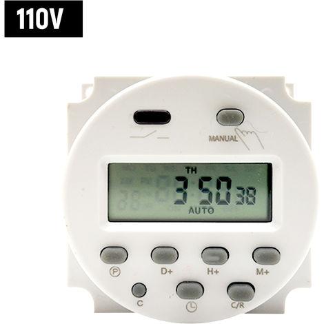 Interruptor temporizador de cuenta atras digital programable Interruptor Mini control de tiempo del temporizador controlador automatico encendidos y compensaciones, 110V