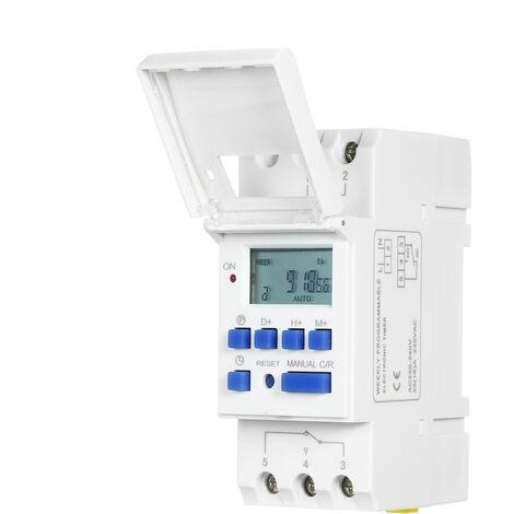 "main image of ""Interruptor THC15A digital LCD de alimentacion programable temporizador de retransmision 16A Amp electronico semanal 7 Dias 16 encendido y rele de control del temporizador de CA 220V Montaje en carril DIN sincronizacion Swtich"""