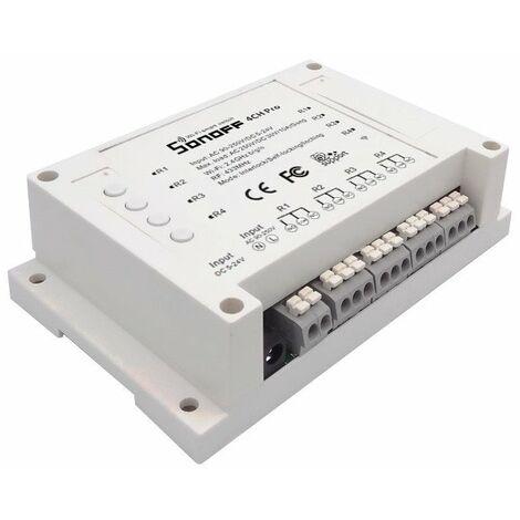 Interruptor Wifi remoto 4 canales Pro R2 Sonoff con enclavamiento salidas independientes AC 90-250V / DC 5-24V Carril DIN