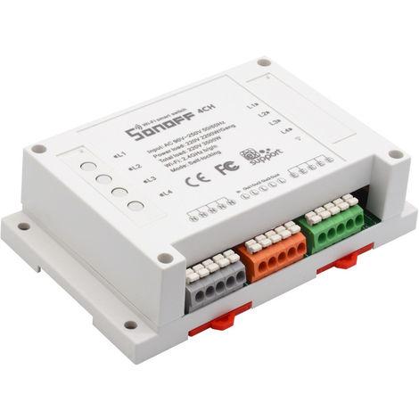 Interruptor Wifi remoto R2 Sonoff 4ch-r2 Rail DIN 4 Salidas independientes, con temporizador y control de consumo 16A 3500w (total) compatible con Alexa y Google home