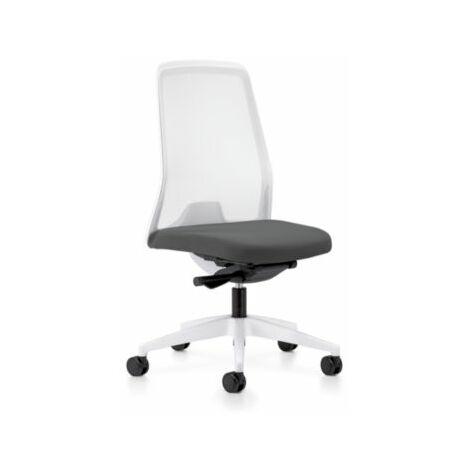 interstuhl Operator-Drehstuhl EVERY, Netz-Rückenlehne weiß - Gestell weiß, mit weichen Rollen
