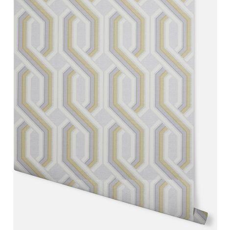 Intertwine Geo Ochre & Grey Wallpaper - Arthouse - 297103