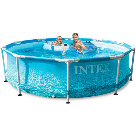 Intex 28208 Beachside Metal Frame runder oberirdischer Pool 305x76cm