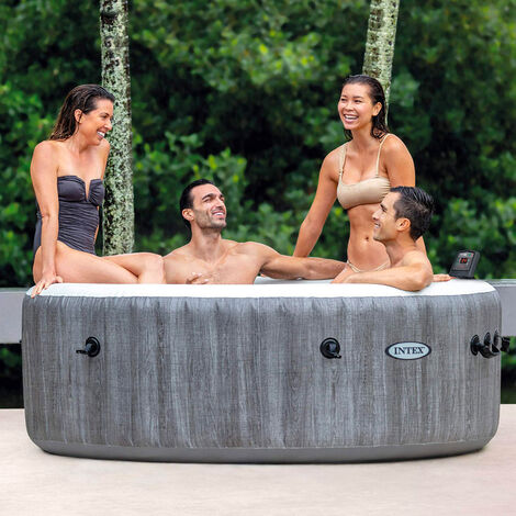 Intex 28442 Bubble Massage Deluxe Rund Aufblasbar Whirlpool 216x71 cm