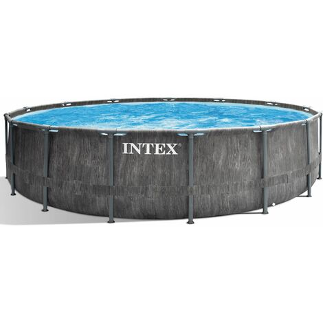INTEX 457x122 Frame Swimming Pool Greywood Set mit Leiter Pumpe und Planen