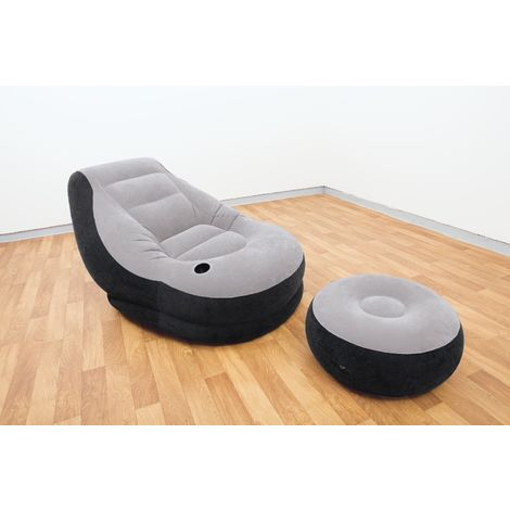 INTEX 68564 Ultra Lounge Ottoman aufblasbarer Sofa Sessel mit Hocker