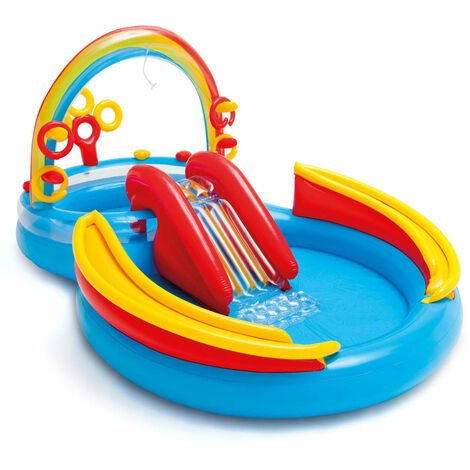 Intex Aufblasbarer Pool Rainbow Ring Play Center 297x193x135cm 57453NP