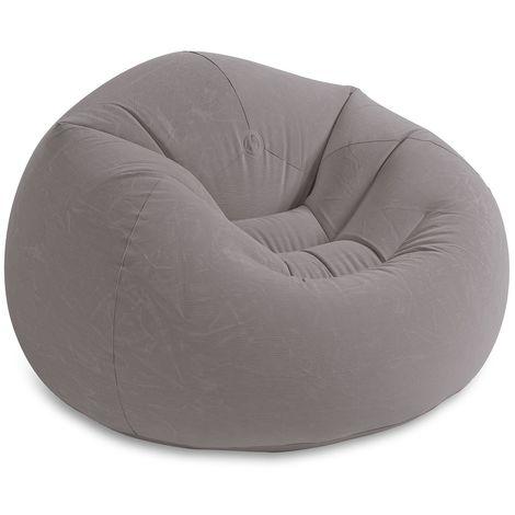 INTEX 68579 aufblasbarer Sitzsack Mega Liege Sofa Sessel in Grau 107x104x69 cm