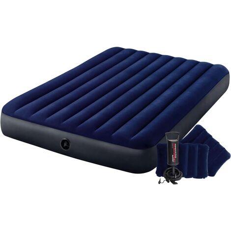 Intex Cama hinchable Dura-Beam con bomba azul 152x203x25 cm
