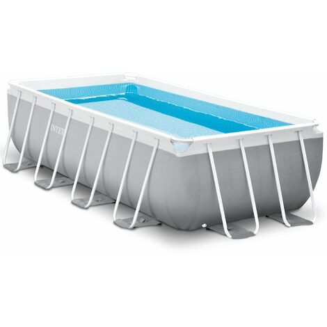 "Intex Frame Swimming Pool Set ""Prism Quadra II"" grau 400 x 200 x 100 cm Inkl. Kartuschenfilteranlage"