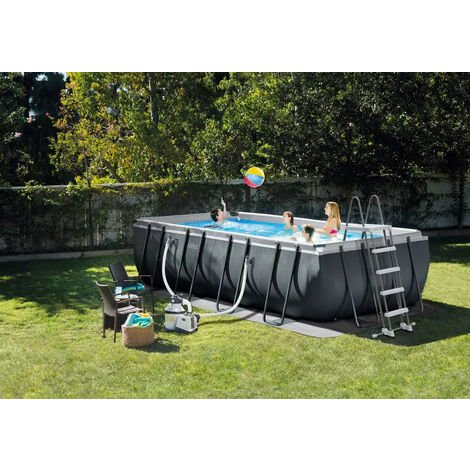 "Intex Frame Swimming Pool Set ""Ultra Quadra XTR"" anthrazit 549 x 274 x 132 cm Inkl. Sandfilteranlage"