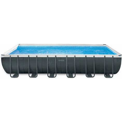 "Intex Frame Swimming Pool Set ""Ultra Quadra XTR"" anthrazit 732 x 366 x 132 cm Inkl. Sandfilteranlage und Salzwassersystem"