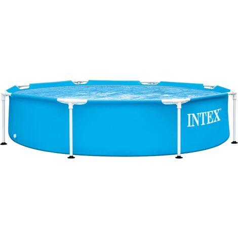 Intex Metal Frame Pool rund 244 x 51 cm, Blau, leicht aufbaubar, Familienpool mit Metallrahmen, Pool für Kinder und Erwachsene, Planschbecken Schwimmbecken Aufstellpool Kinderpool Family Lounge Pool