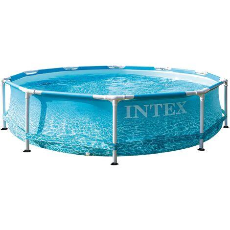 Intex Metal Frame Pool rund 305 x 76 cm, Blau, leicht aufbaubar, Familienpool mit Metallrahmen, Pool für Kinder und Erwachsene, Planschbecken Schwimmbecken Aufstellpool Kinderpool Family Lounge Pool