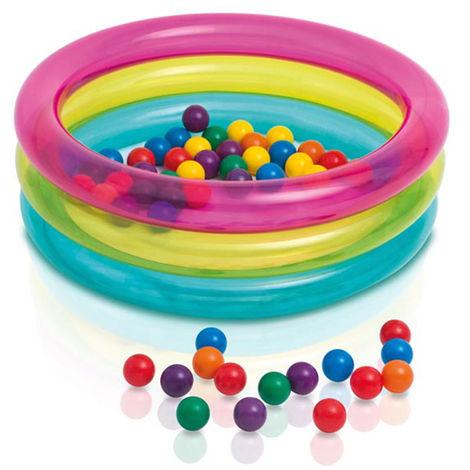 Intex piscine boules colorées multicolore bébé 3 anneaux jeu enfant 48674NP