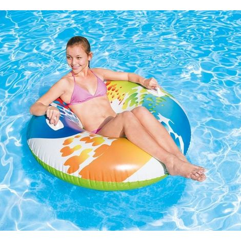 Intex Schwimmring Color Whirl 1,22 Meter Schwimmreifen mit Griffen