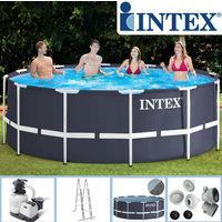 Intex Swimming Pool Frame 366x122 cm mit Sandfilter, Leiter,Solarfolie