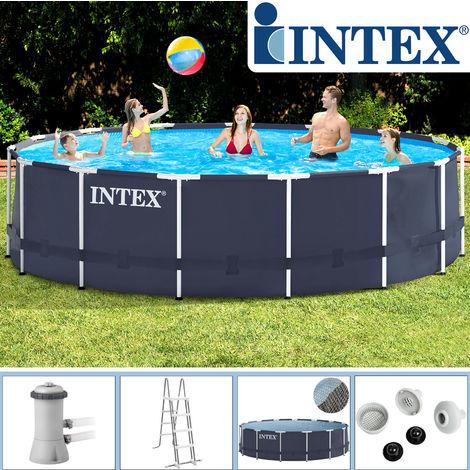 intex swimming pool frame 457x122 cm mit pumpe leiter. Black Bedroom Furniture Sets. Home Design Ideas