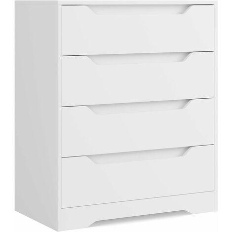 INTEY Commode de 4 Tiroirs Meuble de Rangement avec Tiroirs pour Salon Entrée et Chambre de Coucher Chiffonnier Blanche 69 x 39 x 82 cm