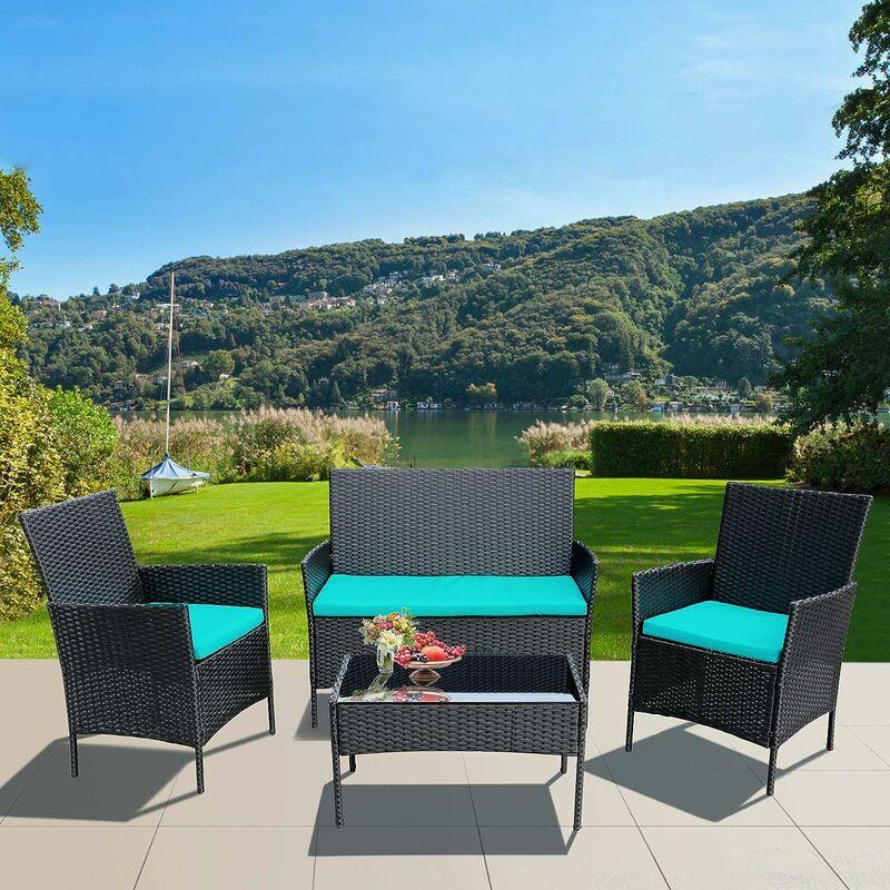 Salon de Jardin Ensemble de meubles de patio en osier, ensemble de 4 canapés en osier d'extérieur chaise en rotin - Intey