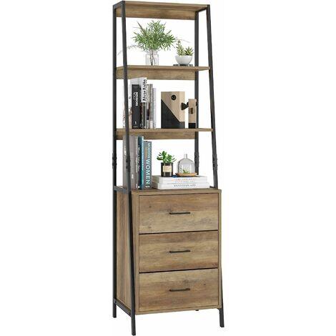 """main image of """"INTEY Étagère échelle, bibliothèque, étagère debout avec 3 tiroirs et 3 niveaux, étagère de rangement, étagère marchepied, étagère plante, armoire au design industriel rustique pour salon, chambre à coucher, bureau"""""""