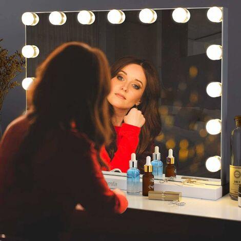 """main image of """"INTEY Miroir de Maquillage;Miroir Électrique;Éclairage Ajustable 15 x 28W LED Lumières Miroir Lumineux Style Hollywood 58 x 43cm"""""""