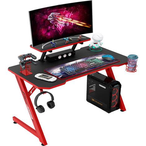 IntimaTe WM Heart Gaming Tisch Gamingschreibtisch, 110cm Ergonomischer Computertisch, Schreibtisch mit Tischplatte aus Kohlefaser, Gamer Tisch mit Display-Teiler, drehbarer Headsethalter, Griffhalter und Getränkehalter