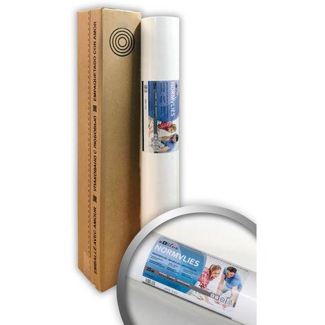 Intissé de rénovation revêtement non-tissé de lissage 150 g Profhome NormVlies 299-150 intissé à peindre professionnel Papier peint intissé blanc | 1 rouleau 18,75 m2