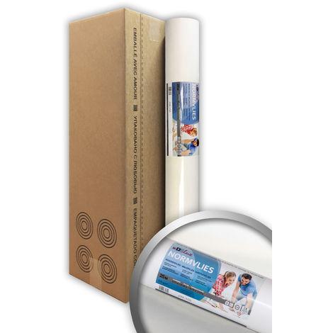 Intissé de rénovation revêtement non-tissé de lissage 150 g Profhome NormVlies 299-150 intissé à peindre professionnel Papier peint intissé blanc | 4 rouleaux 75 m2