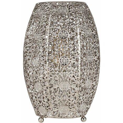 Intricate Moroccan Brushed Chrome Metal Filigree Table Lamp