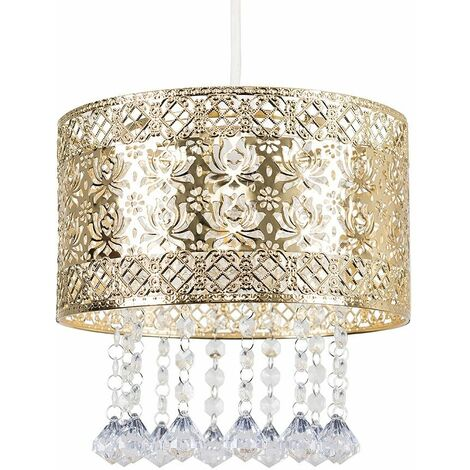 Intricate Pattern Gold Ceiling Pendant Light Shade With Jewel Droplets + An 8W LED Filament Bulb Warm White
