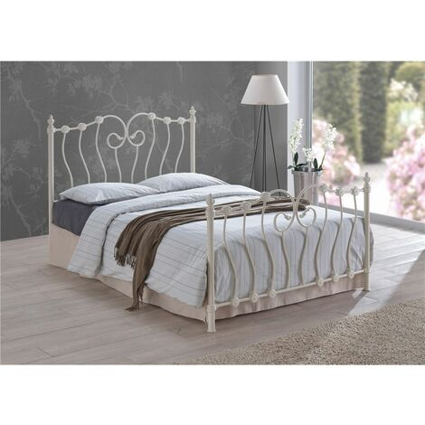 Intricate Weave Ivory Metal Bed Frame - King Size 5ft