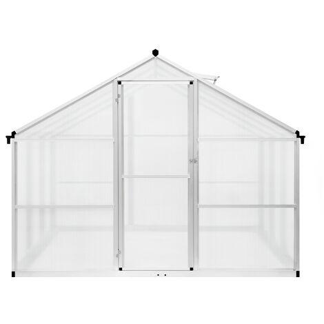 Invernadero 302 * 250 * 195cm Invernadero de aluminio con panel de policarbonato Caseta de jardín de 8 m² - Plata