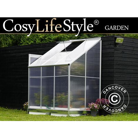 Invernadero Adosad de policarbonato, 2,4m², 1,25x1,92x2,21m, Aluminio