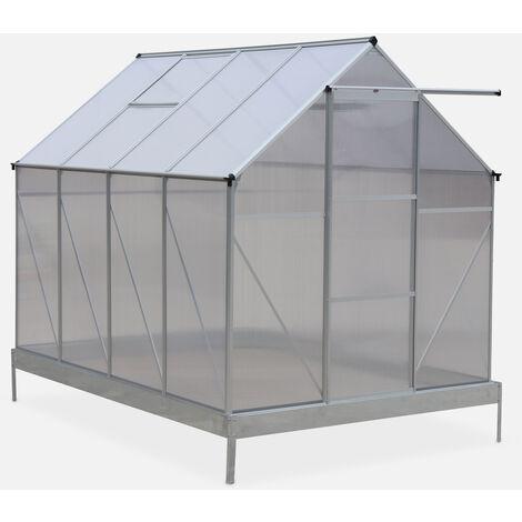 Invernadero con base 250x190x207cm - 5 m² - Aluminio/Policarbonato 4mm - 2 tragaluces de techo - CHENE - Transparente