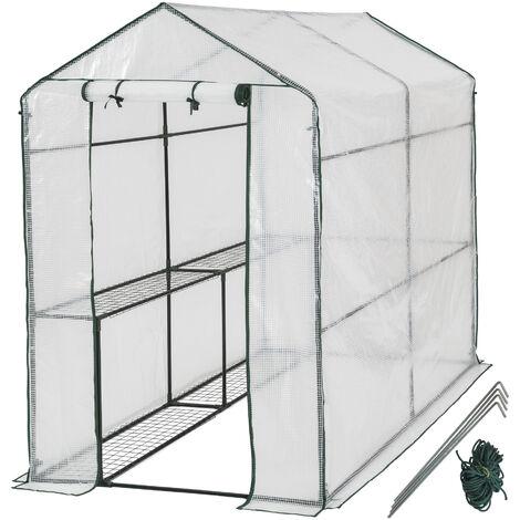 Invernadero con cubierta - invernadero de jardín para frutas y verduras, invernadero con estructura de acero y entrada enrollable, protección contra viento y lluvia - blanco