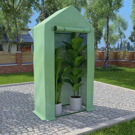 Invernadero con estructura de acero 0,5 m² 1x0,5x1,9 m - Verde