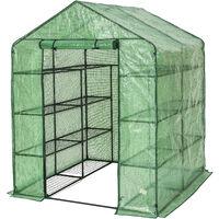 Invernadero cuadrado con cubierta - invernadero de jardín para frutas y verduras, invernadero con estructura de acero y entrada enrollable, protección contra viento y lluvia - verde
